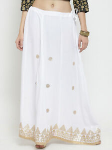 7ed7d1074908d Details about Women White Embellished Flared Maxi Skirt Free shipping
