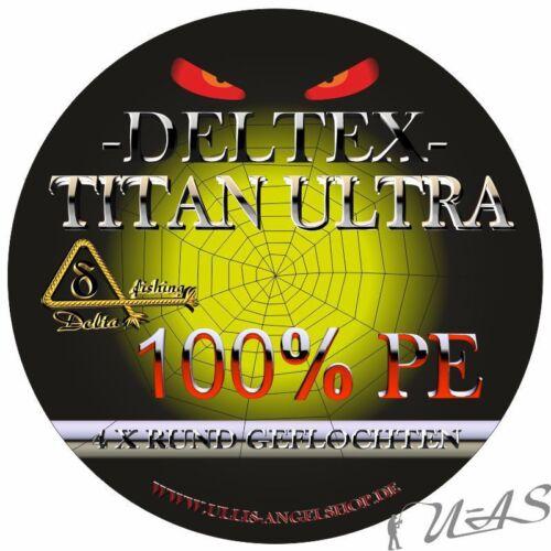 DELTEX Titan Ultra Orange 300M 500M /& 1000M 4 fach Rund Geflochtene Angelschnur