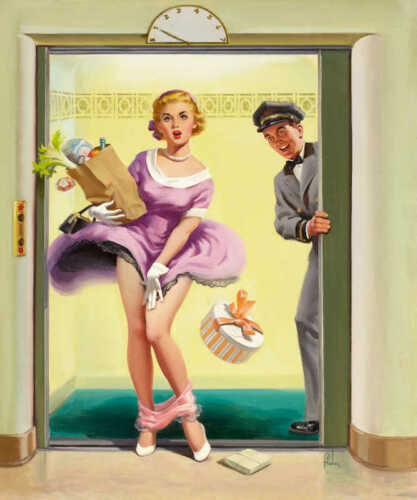 /'GOING DOWN/' 1956 ART FRAHM VINTAGE PIN UP GIRL POSTER PRINT 24x20 9 MIL PAPER