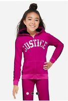 Justice Stripe Plush Hoodie Girls Clothes Size 6 7 8 10 12 Free Shipping