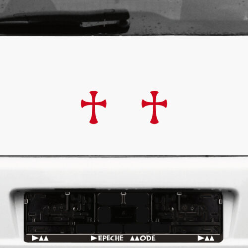 2 Pcs 3 1//8in Red Gothic Gothic Templar Temple Knight cross Sticker Decal Film