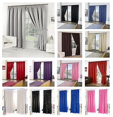 Eco Thermal Blackout Pair Of Curtain Ready Made Pencil Pleat Super Soft Material