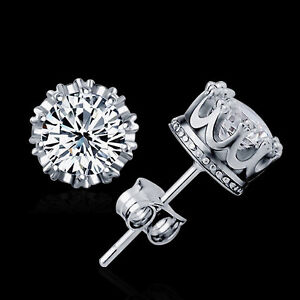 Fashion-Sliver-Plated-Jewelry-8MM-Round-Cubic-Zirconia-Silver-Stud-Earring-KQ