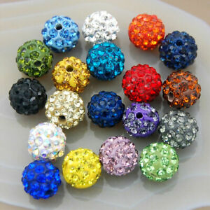 10mm-Shamballa-Crystal-Rhinestone-Pave-Clay-Round-Ball-Beads-100PCS-Hole-Strand