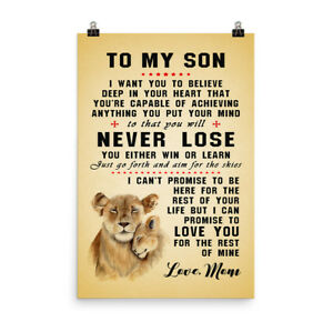 Details about Mom & Son Lion Poster Gift for Son Never Lose Inspiration  Quotes Poster for Son