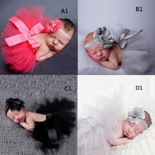 Newborn Baby Girls Tutu Skirt /& Headband Boutique Photoshoot Prop Outfit CHV