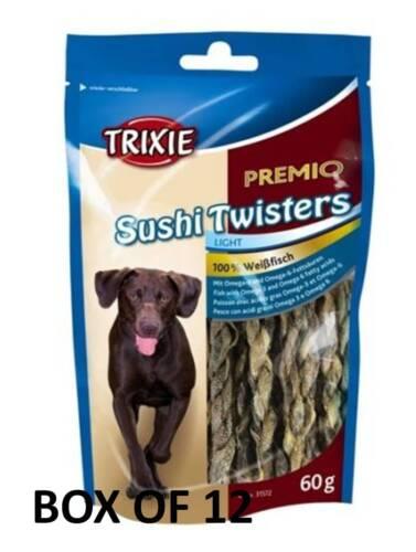 Premio Sushi Twisters X 12 pescado seco Piel Twist Twister tratar de perro cachorro poste libre