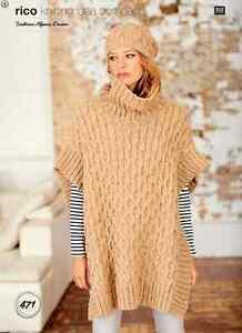 c1c57df7f Rico Design Ladies Poncho   Hat Fashion Alpaca Dream Yarn Knitting ...
