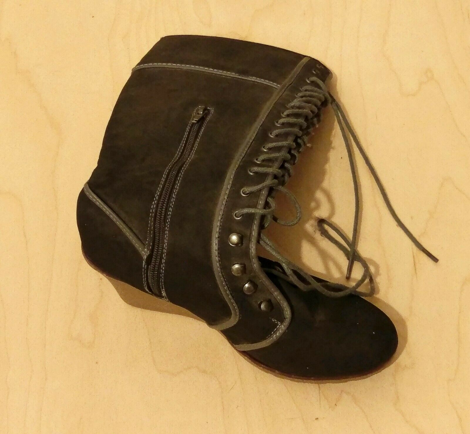 Grey Lace Up Suede Knee High Wedge Heel Boots Size 7
