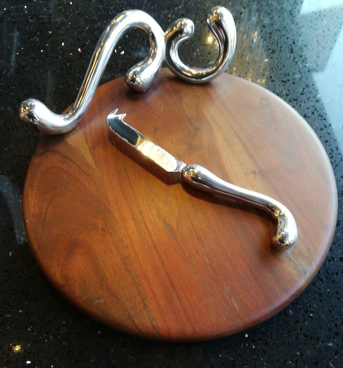 Endon ferenza Cheese Board & Knife & imposta in alluminio lucido legno Sheesham