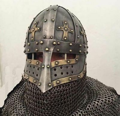 Battle Ready crusader face plate Spectacle Helmet With Chainmail Aventail Steel