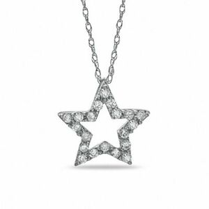Zale-039-s-1-10ct-Diamond-Mini-Star-Pendant-in-10K-White-Gold-with-18-034-Inch-Chain