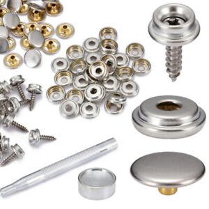 62pcs-Bottoni-Automatici-Pressione-Craft-Vite-Premere-Acciaio-Inox-Tela-Borchie