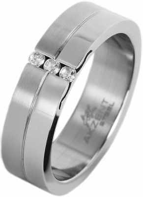 AKZENT Damen Edelstahl Ring mit Zirkonia Crystal