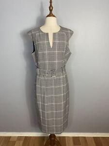Portmans Womens Size 14 A - Line Plaid Midi Sleeveless Dress With Belt
