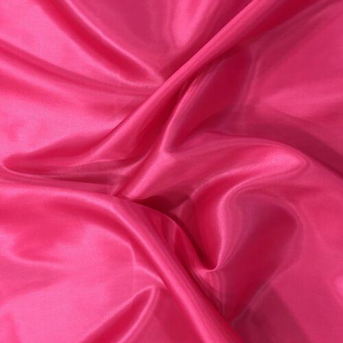 "PINK CERISE Lightweight Silky Plain Poly Satin Fabric SC124 Dress Craft 58/"""