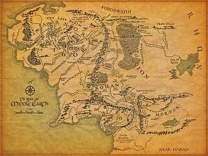 Middle earth map poster 2 various sizes free uk post lord of image is loading middle earth map poster 2 various sizes free gumiabroncs Image collections