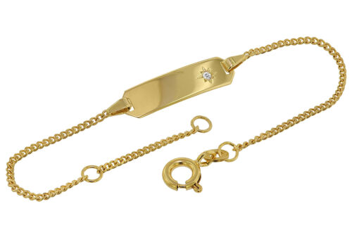 8 Karat TRENDOR Schmuck Armband mit Gravur für Kinder Gold 333 Länge 14//12 cm