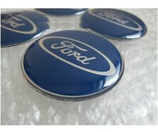 Set of 4 Ford Blue Sticker Self Adhesive Centre Cap Hub 65mm Fiesta Focus