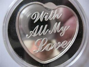 1 Oz Silver 999 Engravable Heart Shaped Coin For Someone