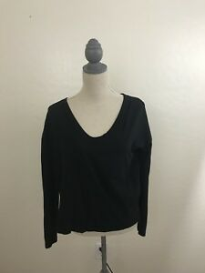 Standard-James-Perse-black-basic-long-sleeve-scoop-neck-tee-shirt-1-Small