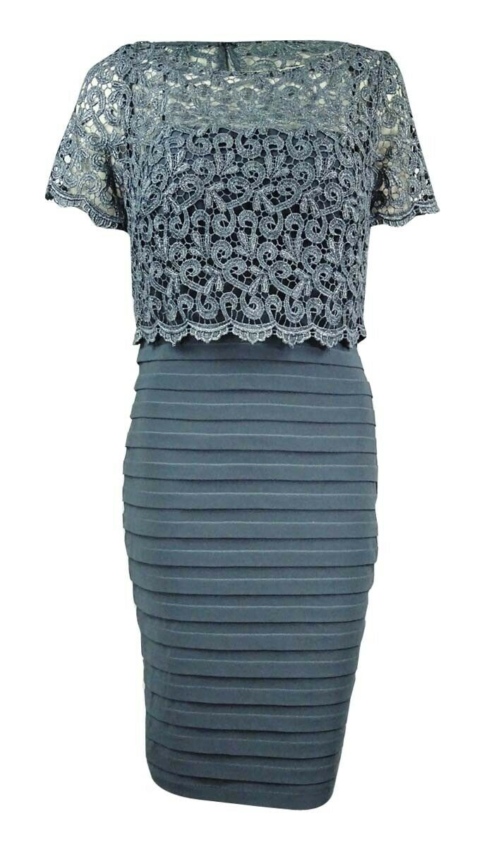 Betsy & Adam Women's Metallic-Lace Jersey Sheath Dress