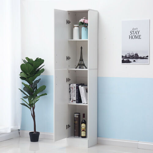 190CM Tall Cupboard High Gloss Wooden Doors Standing Cabinet Bathroom Storage