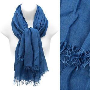 Blue-Cotton-Scarf-Frayed-Edge-Fringe-Large-Wrap-Shawl-Fashion-Accessory