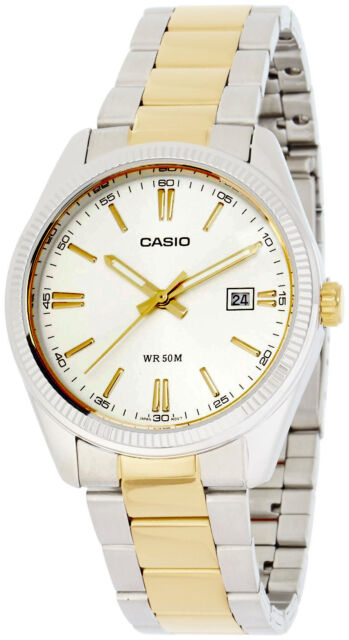 Casio MTP-1302SG-7A Mens Analog Silver and Gold Watch Steel Band Dress Date New