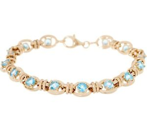 Natural-Blue-Topaz-Gemstone-Tennis-Bracelet-Real-Solid-14K-Yellow-Gold-QVC