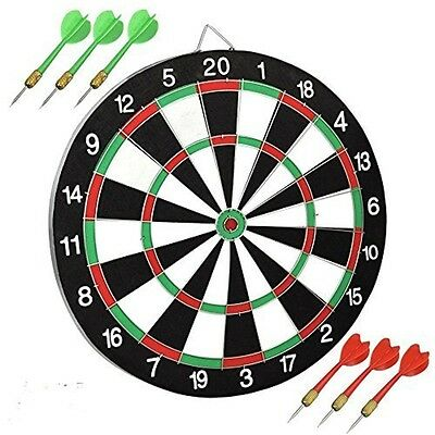 New 12'' Dartboard Dart Board With 6 Darts Ideal Game Gift Fun Play Top Quality