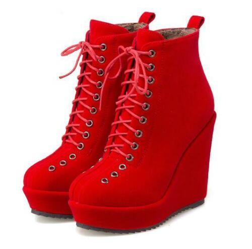 Gr.34-43 Damen Super High Pumps Schnürschuhe Wedge RUnder Zeh Fashion Stiefel