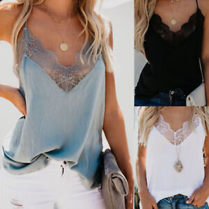 Womens-Cami-Lace-Tank-Tops-Summer-Plain-Sleeveless-Camisole-Vest-Casual-T-Shirts