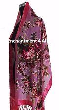 Elegant Olive Vintage Floral 100/% Silk Burnout Velvet Oblong Shawl Wrap Scarf