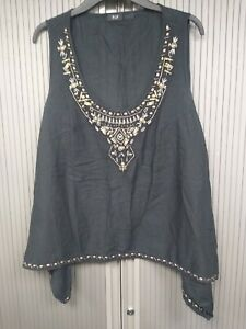Embellished-Black-Top-Embellished-with-Beads-Size-20-100-Cotton