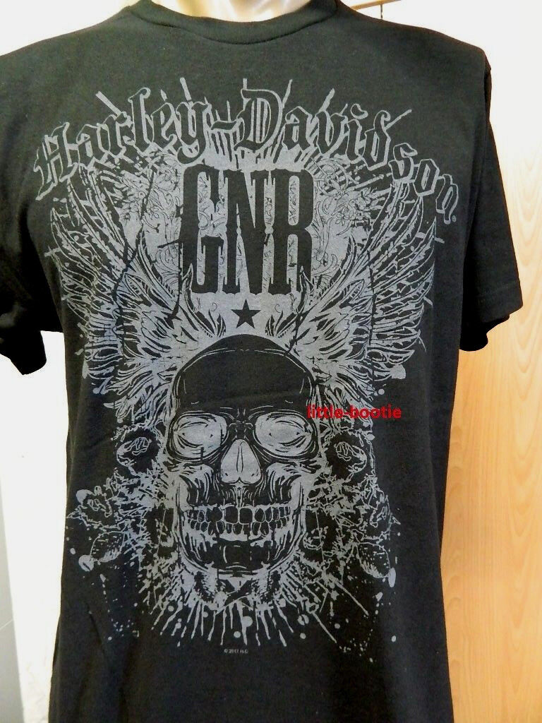 HARLEY-DAVIDSON T-shirt Guns uomo nero Guns T-shirt N 'ROSES SKULL CARD senza spacciatori LOGO ff5872