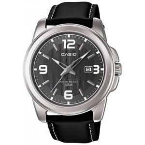 Casio-Uhr-MTP-1314PL-8A-Herren-Armbanduhr-Leder-Schwarz-Silber-Datum-NEU-amp-OVP