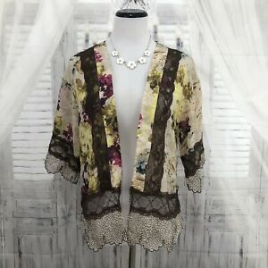 Gimmicks-BKE-Buckle-XS-Brown-Pink-Floral-Sheer-Kimono-Open-Front-Cardigan-B56