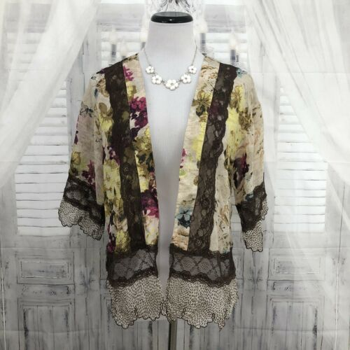 Gimmicks BKE Buckle XS Brown Pink Floral Sheer Kim