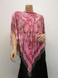 Vintage-English-Rose-100-Silk-Velvet-Handmade-Beaded-Tassels-Poncho-Cape-Pink