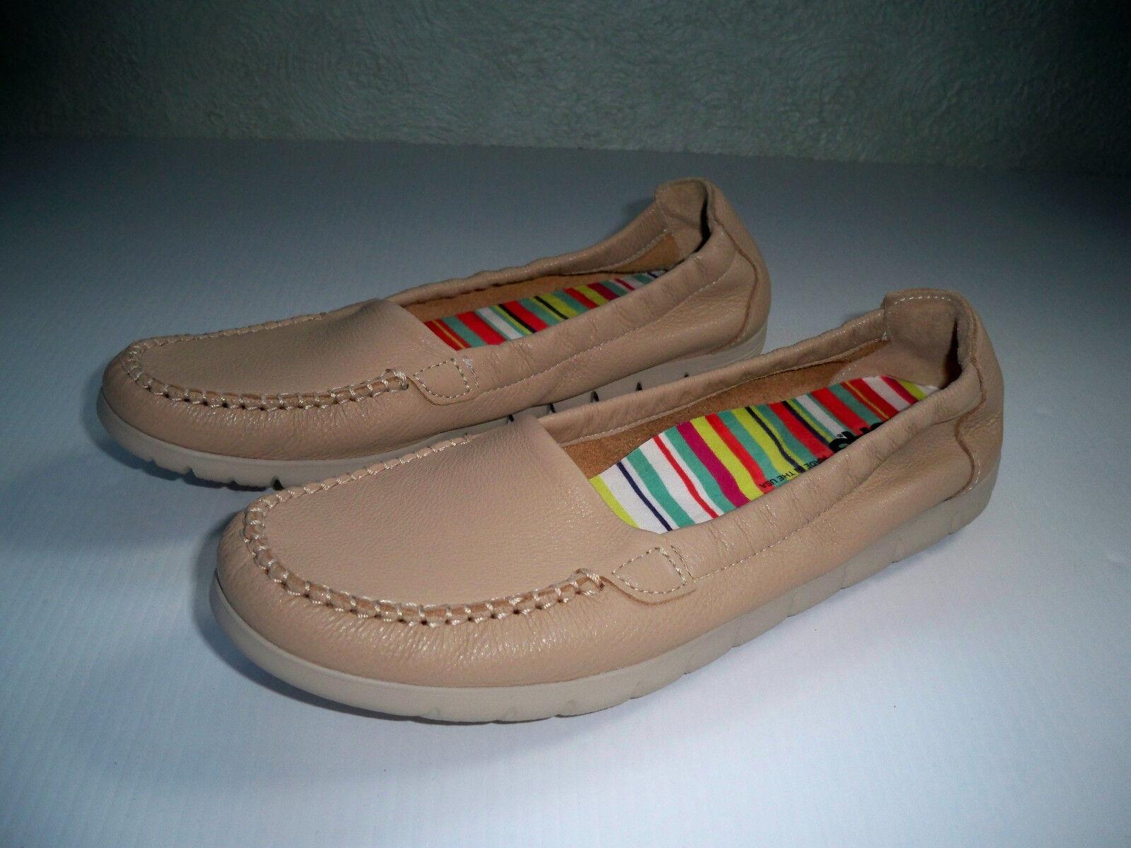 SAS Sunny Latte Slip-on Skimmers Moc-Toe Soft Leather shoes SZ 9.5 S EXCELLENT
