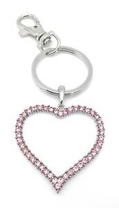 Pink-Heart-Key-Ring-Handbag-Charm-Crystal-Zipper-Pull-Jewelry-Valentines-Gifts