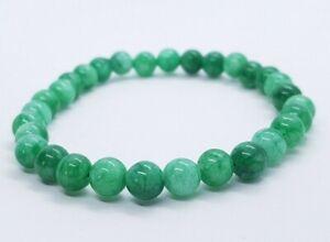 Green Jade Bracelet Round Bead Gemstone Healing Stone Yoga Chakra Reiki
