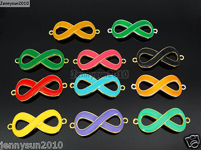 20Pcs Colorful Smooth Metal Big Infinity Bracelet Connector Charm Beads Mixed
