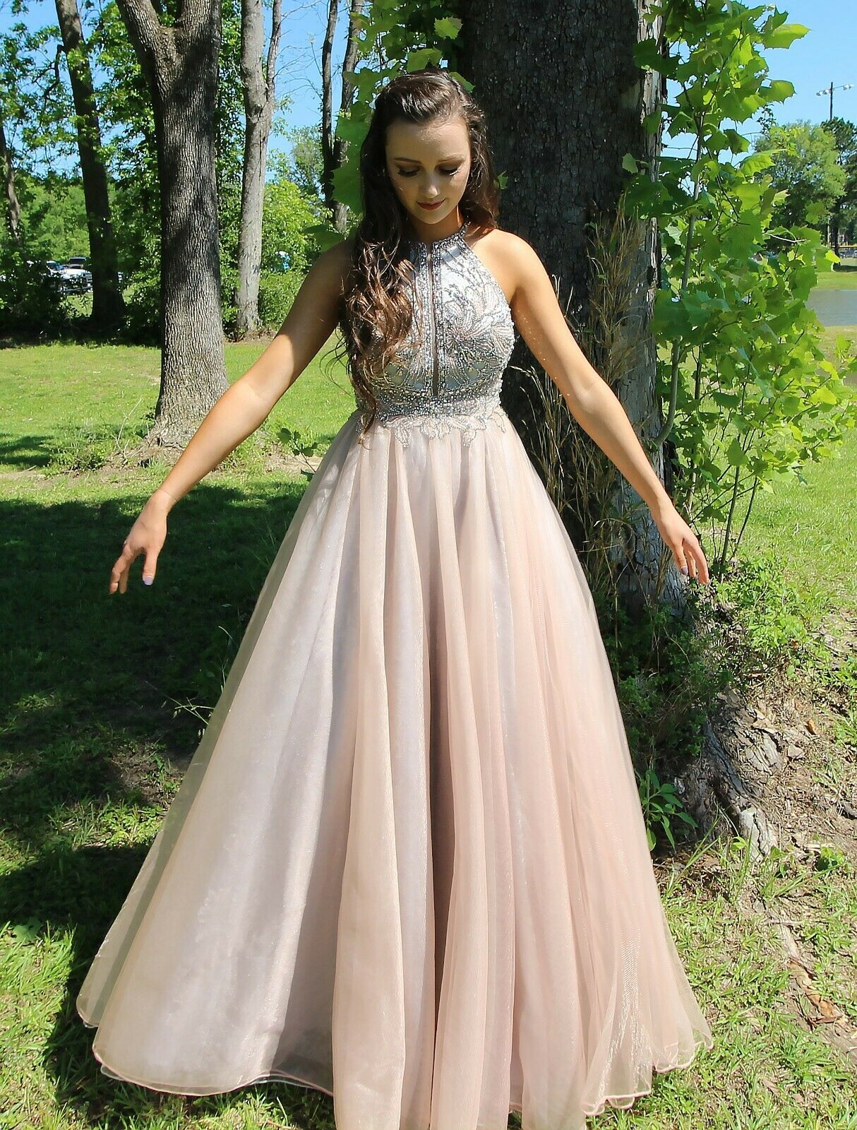 TERANI Couture Prom Dress, Size 4, Dusty Pink, Fit and Flare, Beaded Halter