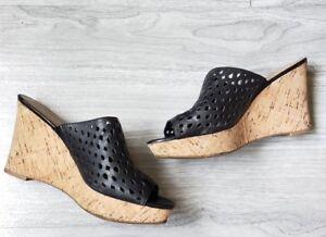 Franco-Sarto-Womens-Cork-Wedge-Black-Perforated-Slip-On-Sandals-8