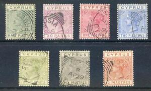 Cyprus-Queen-Victoria-1882-6-die-1-set-of-7-fine-used-2017-06-12-11