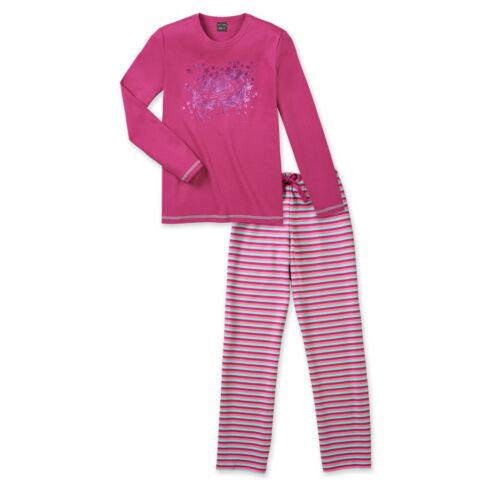 Schiesser fille pyjama long rayures étoiles 140 152 164 176 pyjama NEUF