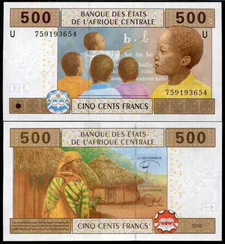 2018 P 206 U NEW SIGN UNC CAS CENTRAL AFRICAN CAMEROUN 500 FRANCS 2002