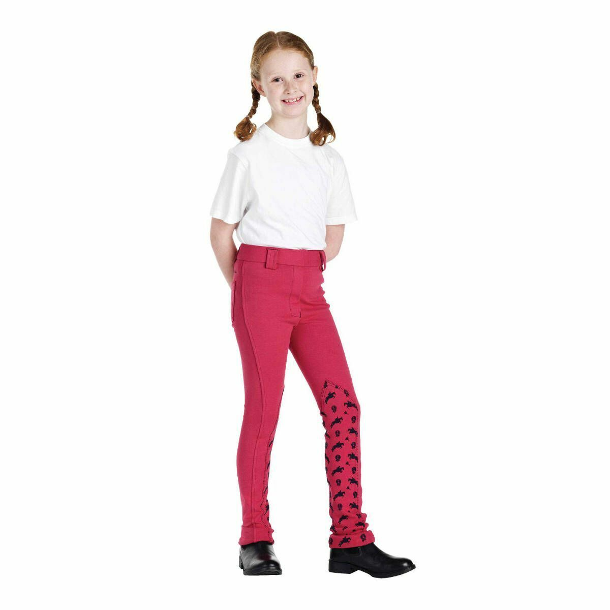Harry Hall Winner kids Junior Jodhpurs Pink Pony Print Jodhpurs 26  Long 9-10Yrs